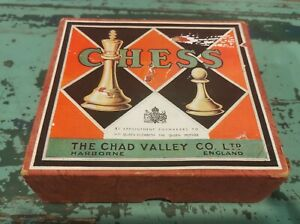 Antique Vintage Chad Valley Co. Ltd Chess Pieces With Org. Box