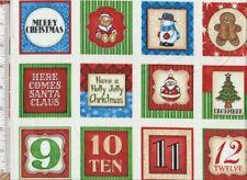 Santa Coming To Town Advent Fabric Panel Dan Morris 52 Christmas Squares OOP