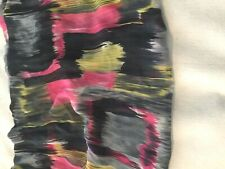 "Semi-sheer chiffon fabric-pink,gray,black,ye llow blended shapes-1 yard 24""x60"""