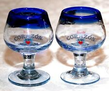 2 BRAND NEW COBALT BLUE CORAZON de AGAVE TEQUILA HAND BLOWN STEMMED SHOT GLASSES