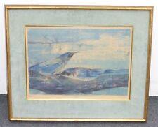"Vintage Atomic Pop Art Print of Blue ""Jays"" on Limb Signed M.L.Tift 1957 #2 /20"