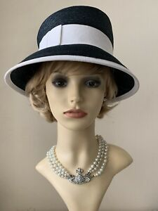 Marzi Blue Straw Cloche Asymmetrical Hat With White Petersham Trim & Bow Lined