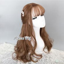Daily 45CM Lolita Brown Long Wavy Women Cosplay Synthetic Wig Heat Resistant+Cap