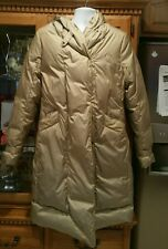 UGG AUSTRALIA WOMENS LARGE PARKA PUFFER DOWN FEATHER JACKET GOLD