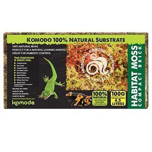 Komodo Habitat Moss Brick 100g Compact Sphagnum Moss Frogs Snails Reptile Hide