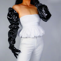 LATEX LONG GLOVES Unisex Black Faux Leather 85cm Wide Balloon Puff Sleeves Large
