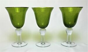 Set of 3 ARTLAND Iris Green Hand Blown Wine Goblets.
