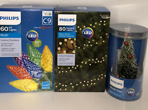 Phillips Lot Of 3 NEW  LED Christmas String & Garland Lights Plus LED Tree