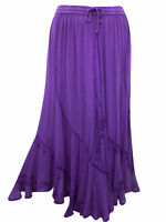 Eaonplus ladies maxi skirt plus size 14/16 18/20 22/24 26/28 gypsy boho purple
