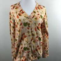 Breckenridge L Large Cardigan Sweater Autumn Leaves Button Up Long Sleeve Cotton