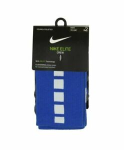 NIKE NWT Size XS 10C-3Y Kid's Youth Elite 2-Pack Crew Dri-Fit Socks Blue White