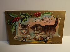 KITTY CAT KITTEN CHRISTMAS WISHES ANTIQUE EMBOSSED POSTCARD