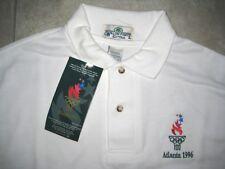 NEW NWT Vintage 1996 Olympics Logo Atlanta Georgia White Polo Knit SHirt XL