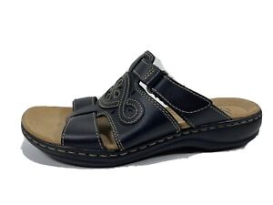 Clarks Collection Leather Slide Sandals Womens 8 M