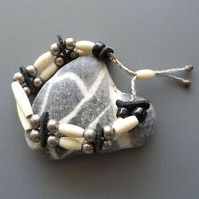 Bracelet amérindien neuf ajustable pour homme, 2 rangs, os, cuir, verre et métal
