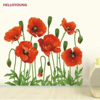 Wall Stickers New Red Poppy Removable Art Waterproof Bedroom Home Decor