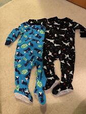 Carter's Baby Boy 12 Months Fleece Pjs Pajamas Lot Of 2 Cute Prints Dogs Space