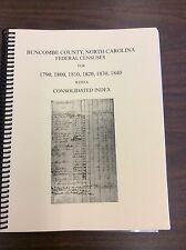 Buncombe County, NC Federal Census for 1790 - 1840, with Consolidated Index