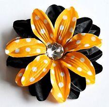 "5"" Orange & Black Polka Dots Tropical Lily Silk Flower Hair Clip Halloween"