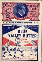 1935 Baseball program Boston Red Sox @ Chicago White Sox, unscored ~ Good