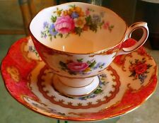 BEAUTIFUL' LADY CARLYLE' Cup/Saucer Royal Albert PINK Roses-Gold Trim - 15% off