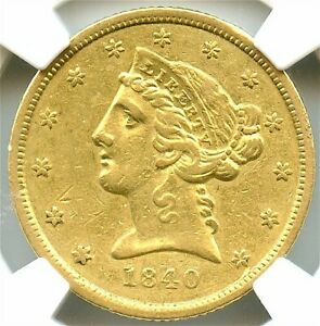 1840-D $5 Gold Liberty Half Eagle, Tall D, NGC AU-50, Very Attractive Rare Gold!
