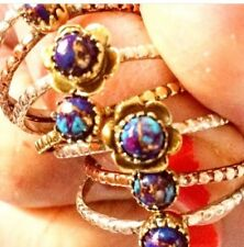 Purple Copper Turquoise 925 Stackable Ring