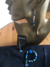 Acrylic , Wood And Shell Bracelet & Er Set -Handmade Blue Colourway