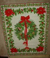 CHRISTMAS Poinsettia Wreath Finished Machine Sewn Quilt Top Wall Lap 33 x 42 in
