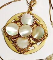 VTG MOTHER OF PEARL PENDANT NECKLACE TINY PEARL GOLD TONE CHAIN EXCELLENT COND