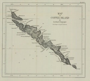 1901 Map of Copper Island; Map of  Bering Island [2 items]  Russian Federation