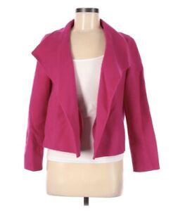 Talbots MP Blazer Jacket Open Front Boiled Wool Hot Pink Medium Petite