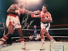Larry Holmes Signed 16x20 Photo vs Mohammad Ali insc. Schwartz Sports COA