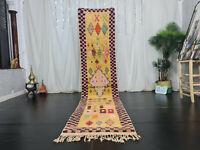"Moroccan Handmade Boujad Runner Rug 2'5""x11'3"" Geometric Yellow Pink Berber Rug"