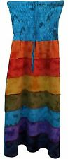 FAIR TRADE COTTON RAINBOW PANELS HIPPY BOHO FESTIVAL GOTH SKIRT DRESS FREE SIZE