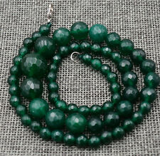 "Dark Green 6-14mm Faceted Natural Emerald Round Beads Necklace 18"" AA+"