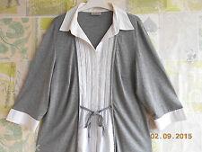 Tunika Shirt Top Grau/Weiß im Lagenlook von C & A Canda Größe 44 L   NEUWERTIG
