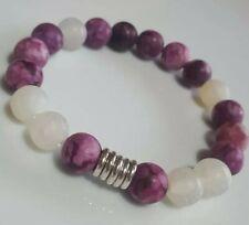 Purple Jasper, white crackle Agate & Links Of London sterling silver Bracelet