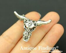 4pcs Cow Skull  Charm Antique Silver Charm Necklace Pendant SC786