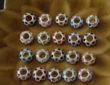 February Amethyst Silver Birthstone CZ Crystal Spacer Bead Fit Europ Bracelets