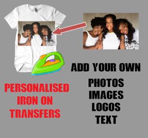 Personalised Iron On T Shirt Photo Image Logo Transfer Print Custom Text Mens