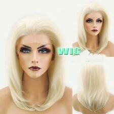 Lace Front Hair Wig Heat Resistant Medium Straight Light Blonde Wig