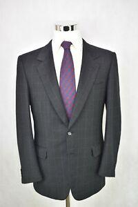 * Brioni * Dark Grey W/ White Windowpane 100% Wool 2-Btn Suit 40 R US