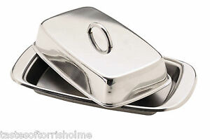 Kitchen Craft Traditional Stainless Steel Covered Butter Dish & Lid