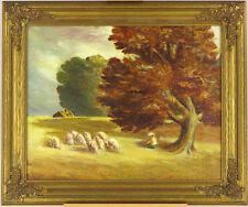 Vintage c.1940's Canadian Impressionist Pastoral Landscape Sheep Oil on Panel