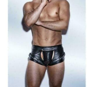 Sexy Men's Faux Leather Shorts Crotchless trunks Bondage Fetish male Underwear
