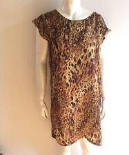 SEED Heritage femme Size 12 / M Leopard Print Silky Shift Dress NWOT