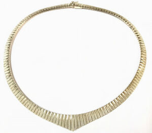 Beautiful Vintage Sterling Silver Bright Cut Articulated Cleopatra Necklace