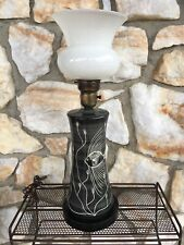 Vintage Mid Century Modern Kleiner Art Pottery Lamp Light Fish Aquatic Black 60s