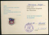 Güstrow Abz. für gutes Wissen Silber mit orig. Urkunde, Bartel Nr.32b, I/II